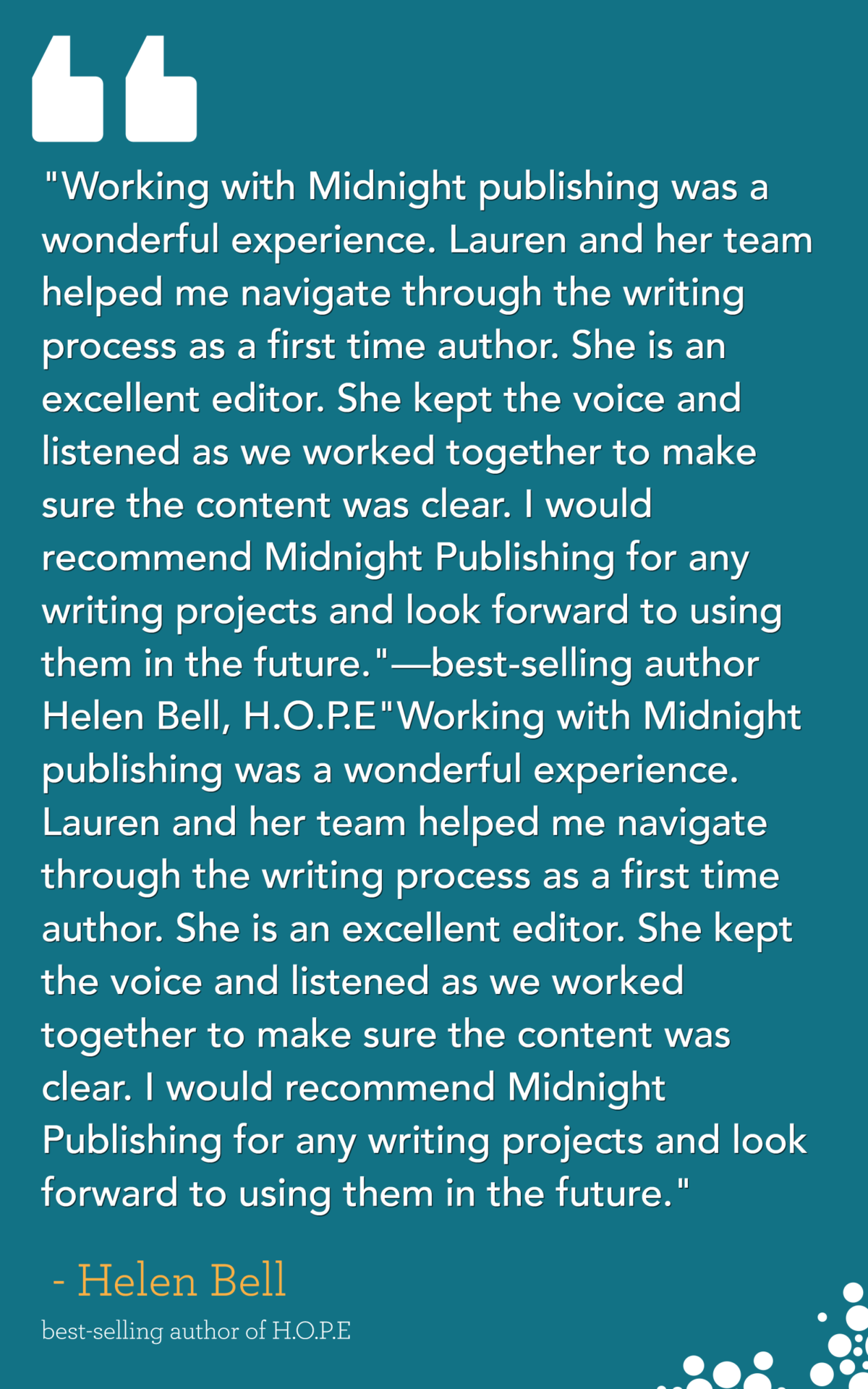 HOPE by Helen Bell - testimonial for midnight publishing